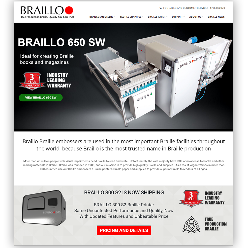Web Design Braillo Home Page