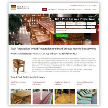 Website designers Teak and Deck Homepage