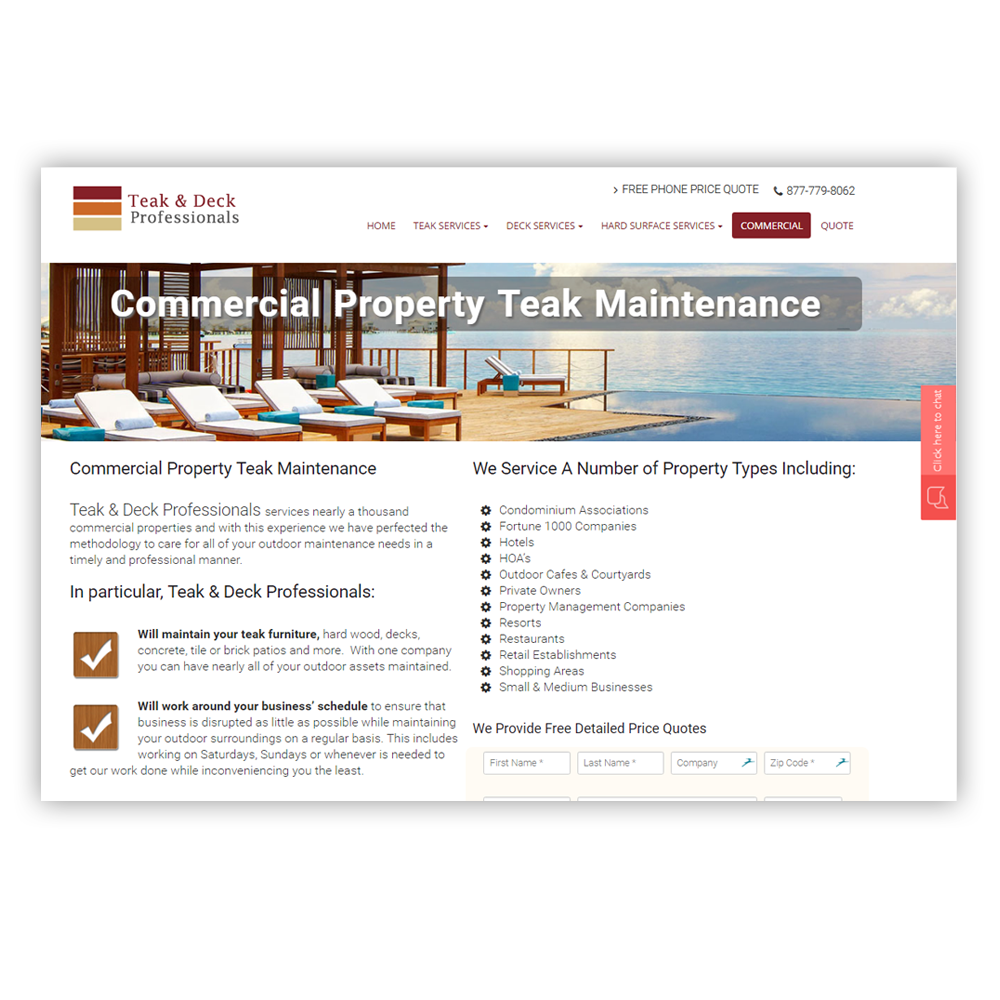 Teak and Deck Website Design layout