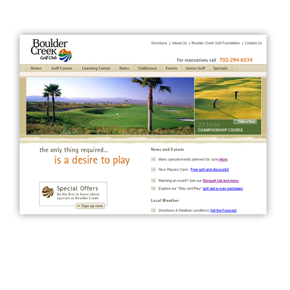 Golf Course Website Design Boulder Creek