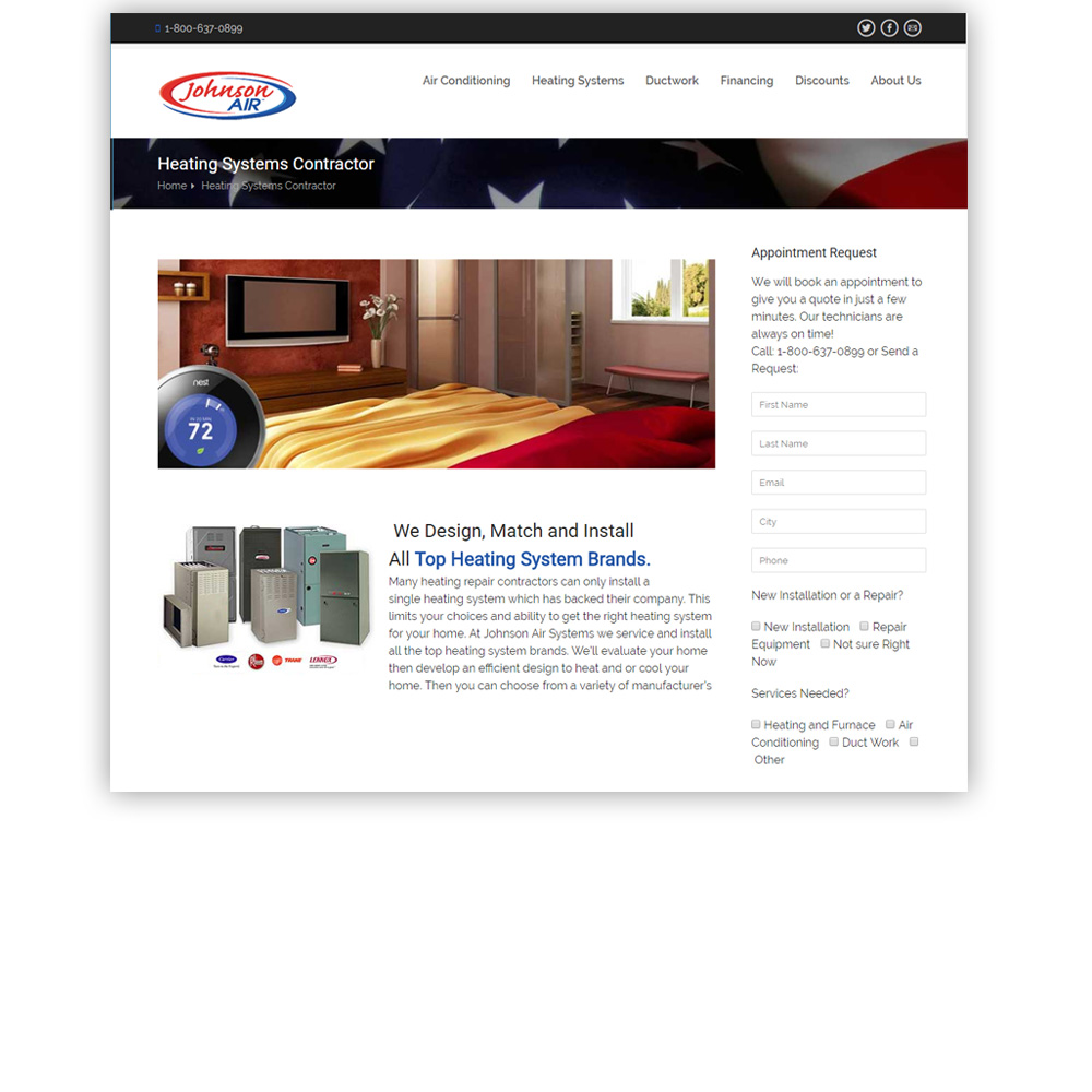 Johnson Air Systems Website Design