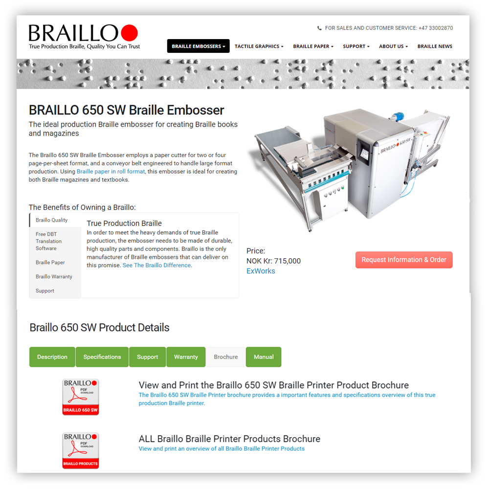 Website Portfolio Braillo Product Page