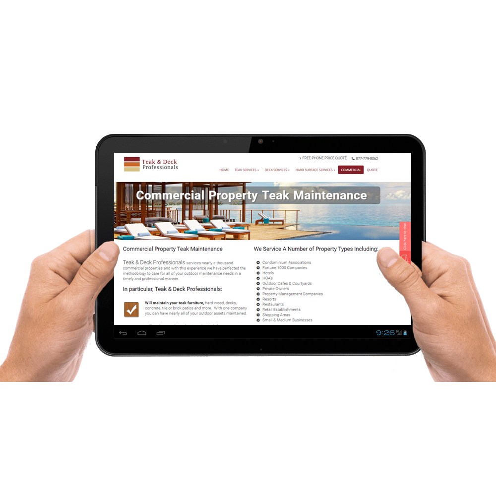 Responsive website design for Tablet Teak and Deck
