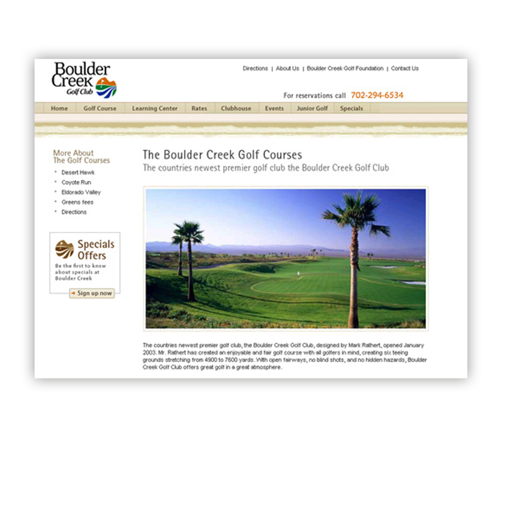 Boulder Creek Golf Course Website Design