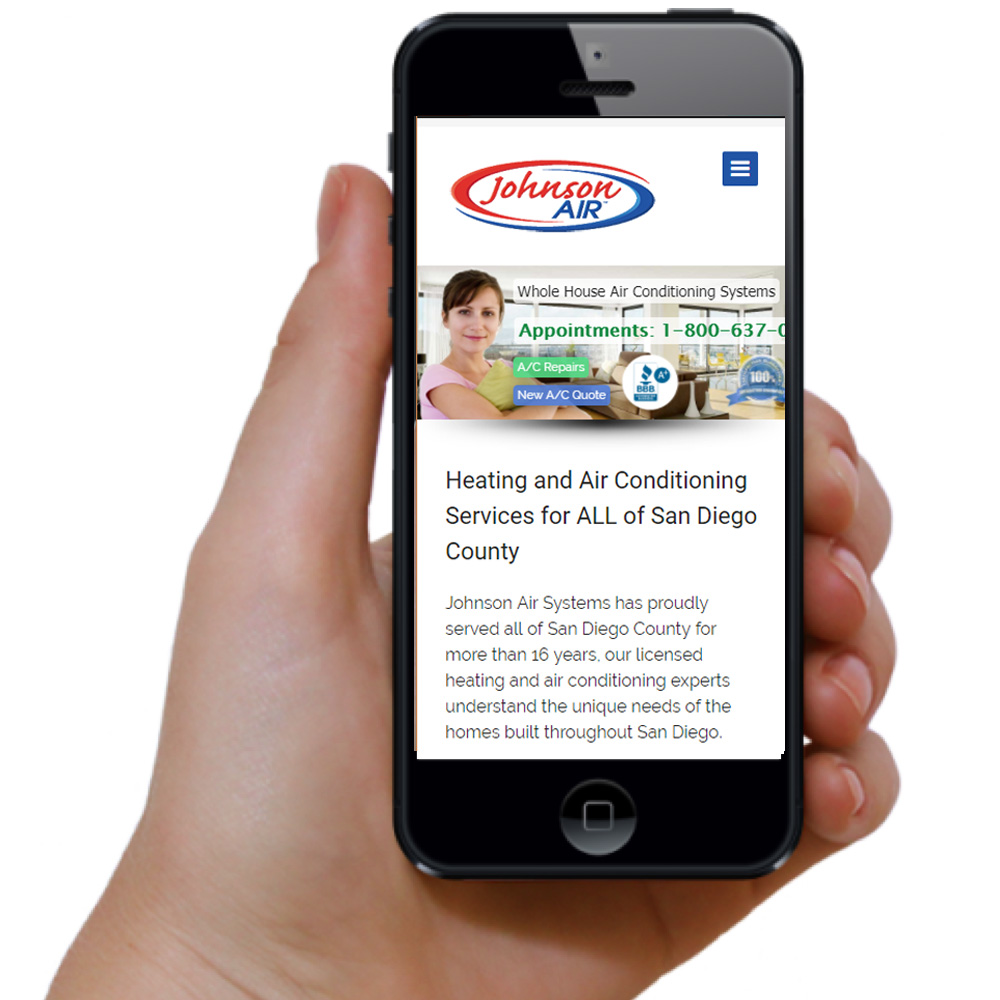 Johnson Air Mobile Website Design